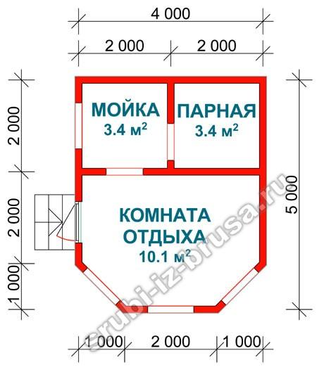 Планировка - сруб бани из бруса 4x5 м. Наталья.